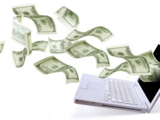 laptop floating money