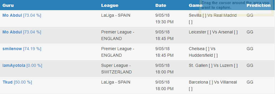 BTTS/GG free football prediction